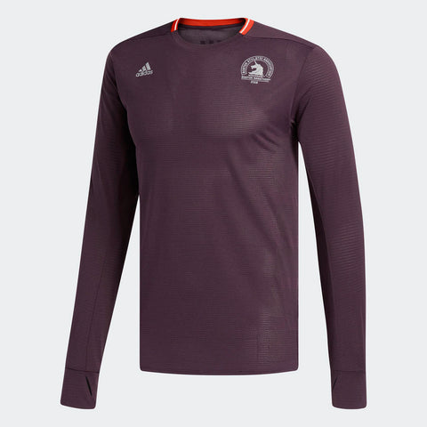 Adidas Men's Boston Marathon® 2018 B.A.A. Supernova Long Sleeve Tee - Burgundy Red (CW3935)