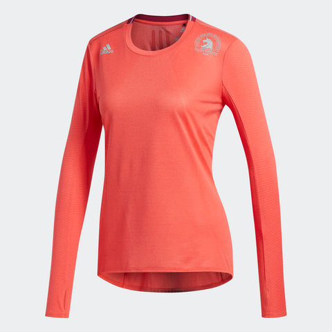 Adidas Women's Boston Marathon® 2018 B.A.A. Supernova Long Sleeve Tee - Real Coral (CW3937)