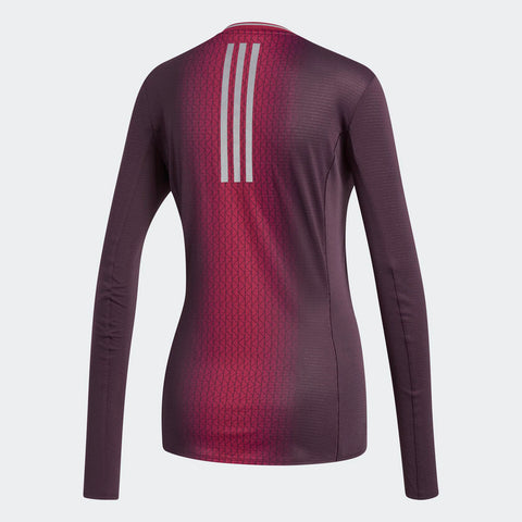 Adidas Women's Boston Marathon® 2018 B.A.A. Supernova Long Sleeve Tee - Burgundy Red (CW3938)