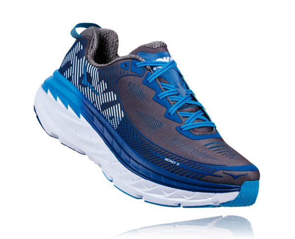 Hoka One One Men's Bondi 5 Wide (2E) - Charcoal Gray/True Blue (1016604-CGTB)