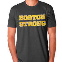 Boston Strong Men's Cotton T-Shirt - Charcoal/Gold