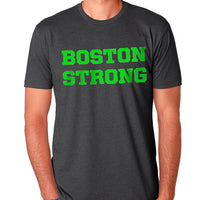 Boston Strong Men's Cotton T-Shirt - Charcoal/Green