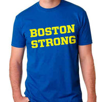 Boston Strong Men's Cotton T-Shirt - Royal/Yellow
