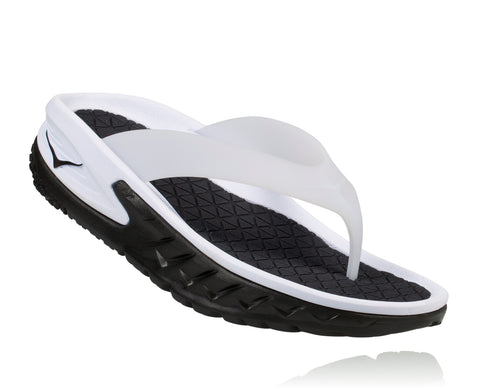 Hoka One One Men's Ora Recovery Flip - Black/White (1018352-BWHT)
