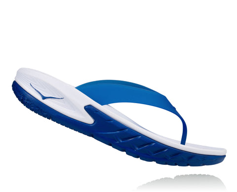 Hoka One One Men's Ora Recovery Flip - White/True Blue (1018352-WTRB)