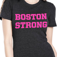 Boston Strong Women's Cotton T-Shirt - Black/Hot Pink
