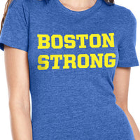 Boston Strong Women's Cotton T-Shirt - Royal/Yellow (Front)