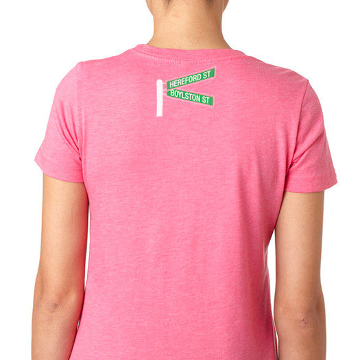 Boston Strong Women's Cotton T-Shirt - Pink/Electric Blue