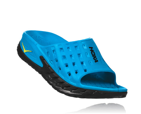 Hoka One One Women's Ora Recovery Slide - Black/Process Blue (1014865-BPSB)