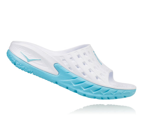 Hoka One One Women's Ora Recovery Slide - White/Blue Topaz (1014865-WBTP)