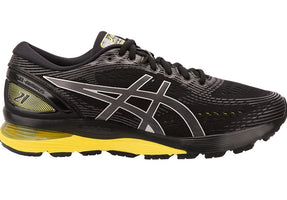 Men's Asics Gel-Nimbus 21 Running Shoe Wide (2E) Black/Neon Spark 1011A172.003
