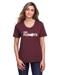 Women's Run Plimoth Tech Tee TS-RUNPLI-CE111WB - BURGUNDY