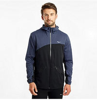 Saucony Men's Drizzle Jacket - Mood Indigo/Black (SAM800238-MIBK) Front