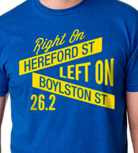 Right On Left On Men's Street Signs Cotton Tee - Royal/Yellow