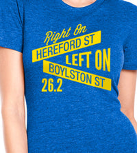 Right On Left On Women's Street Signs Cotton Tee - Royal/Yellow