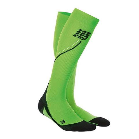 CEP Men's Progressive+ Night Run Compression Socks 2.0 - Flash Green/Black (WP5NZ3)