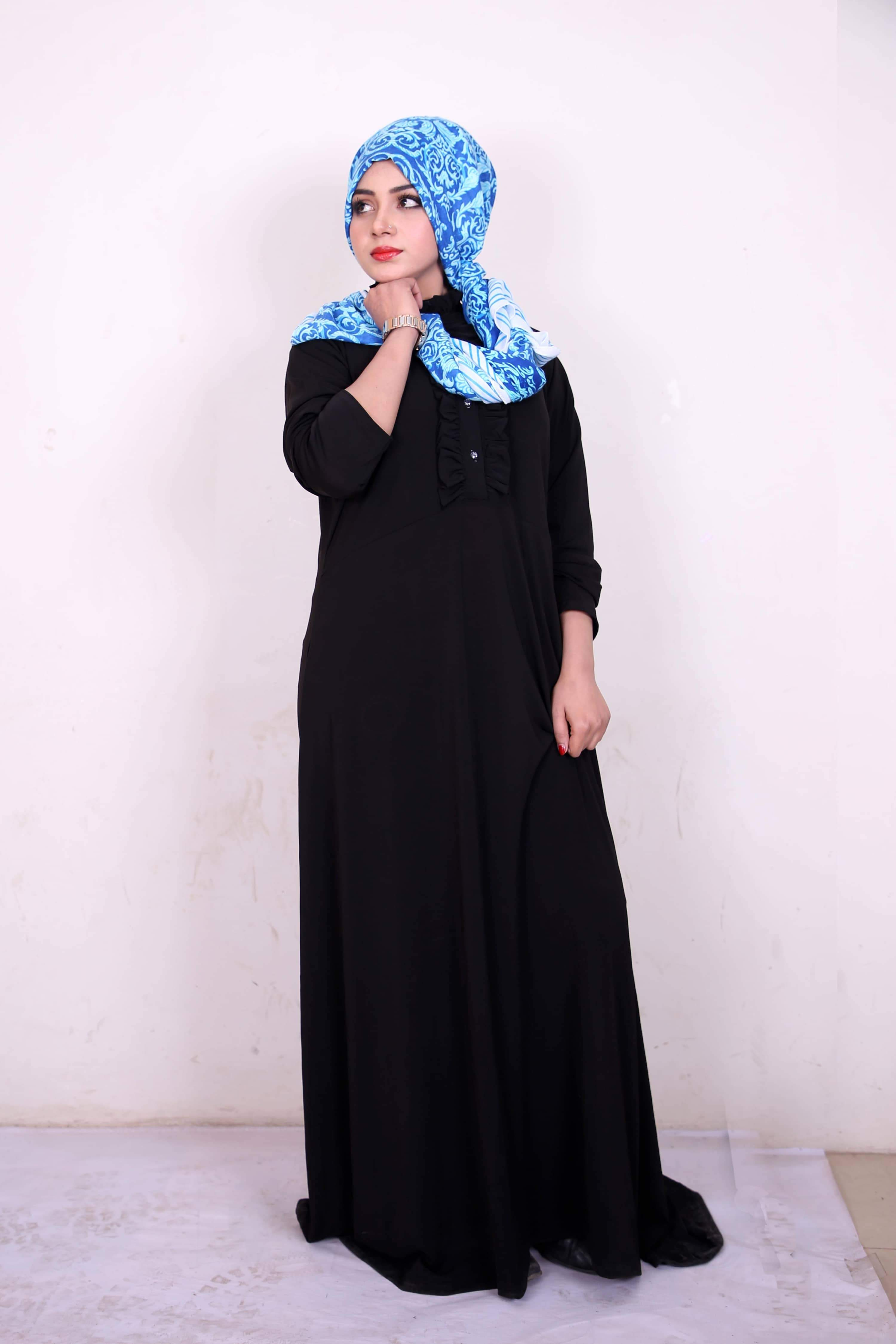 Online Front Frill Button Abaya