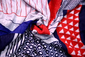 Red Blue Printed Hijab