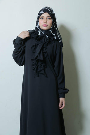 Best Black Front Frill Tie Abaya