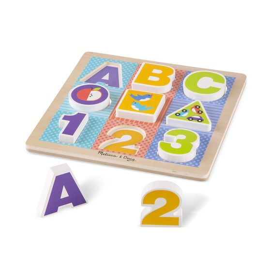 Melissa & Doug - First Play Wooden ABC-123 Chunky Puzzle