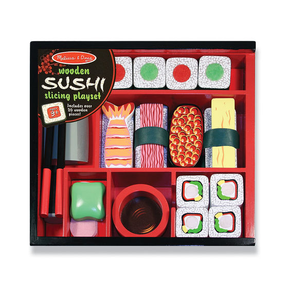 Melissa & Doug Sushi Slicing Play Set Wooden Play Food