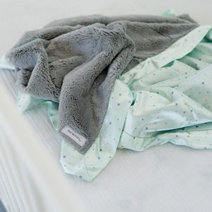 Saranoni Gray Lush Mint Star Satin Back Receiving Blanket
