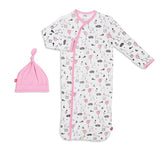 Magnetic Me Pink Skylark Modal Magnetic Sack Gown & Hat Set (Newborn to 3 months)