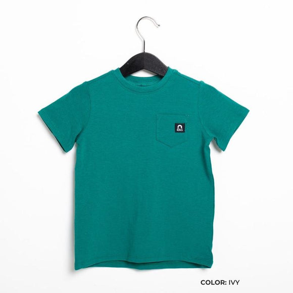 Rags Short Sleeve Chest Pocket Kids Essentials Tee in Ivy