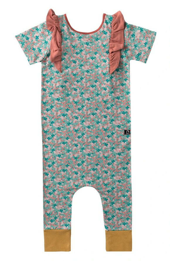 Rags to Raches Short Sleeve Ruffle Rag in Small Ditsy Green Floral
