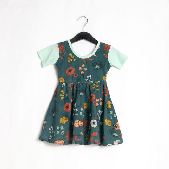 Rags **BOUTIQUE EXCLUSIVE** Short Sleeve Swing Dress in 'Sketchbook Floral' North Atlantic