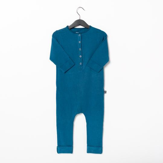 Rags 3/4 Sleeve Essentials Rag Romper in Lyons Blue