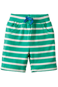 Frugi - Little Stripy Shorts Jungle Green Breton/Giraffe (SS17)