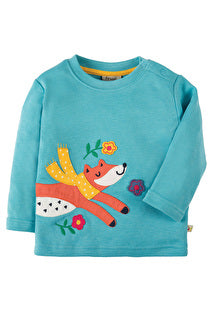 Frugi - Little Discovery Applique Top Aqua/Fox (AW17)