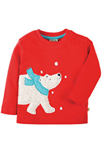 Frugi - Little Discovery Applique Top Tomato/Polar Bear (AW17)