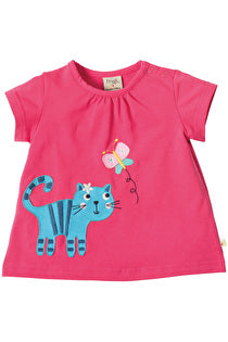 Frugi - Amber Applique Top Raspberry/Cat (SS17)