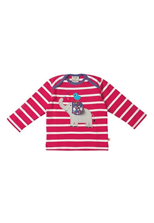 Frugi - Bobby Applique Top in Raspberry Breton/ Elephant (AW16)