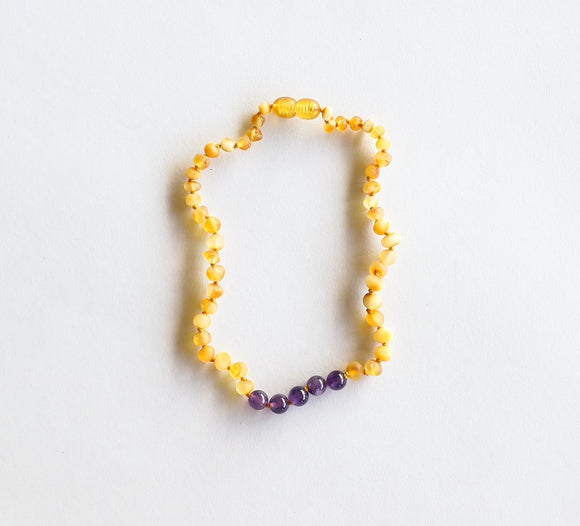Canyon Leaf Baltic Amber Necklace - Raw Honey + Amethyst