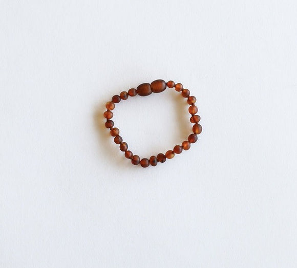 Canyon Leaf Baltic Amber Bracelet/Anklet - Raw Cognac 6 inches