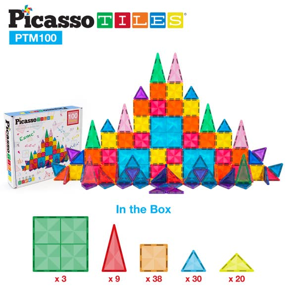 Picasso Tiles 100 Piece 3D Magnetic Building Blocks - Mini Diamond Series