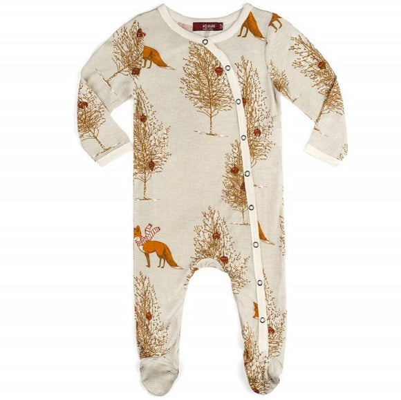 Milkbarn Bamboo Footed Romper in Holiday Fox