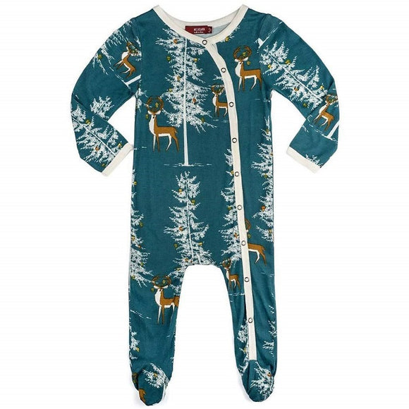 Milkbarn Bamboo Footed Romper in Holiday Buck