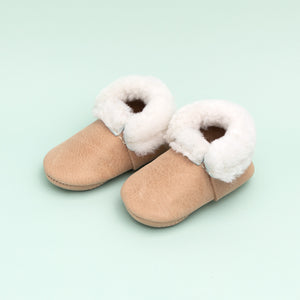 Freshly Picked Shearling Mocc Mini Sole in Weathered Brown
