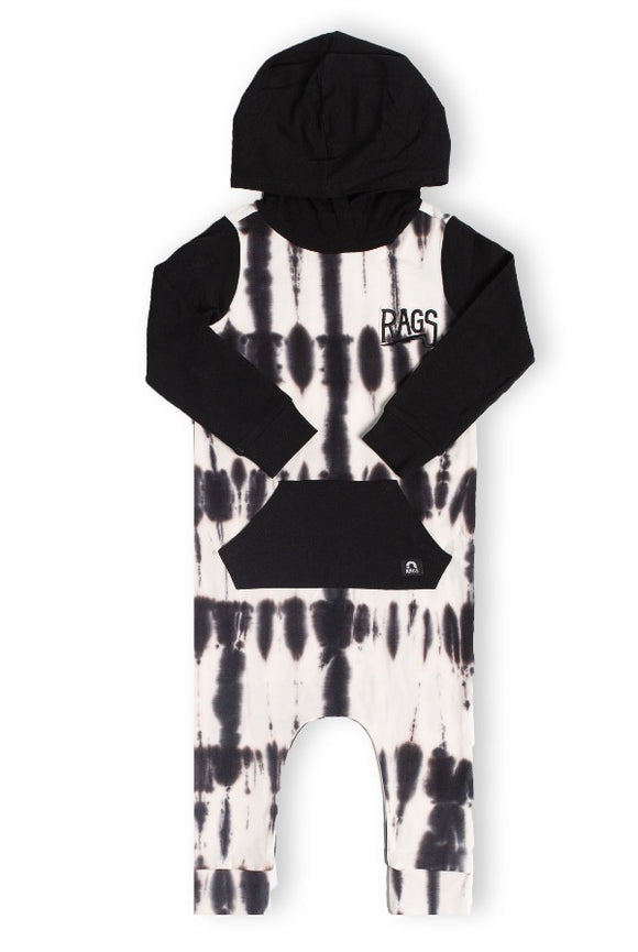 Rags **BOUTIQUE EXCLUSIVE** Long Sleeve Hooded Kangaroo Pocket Rag Romper in Black Beauty/Marshmallow Tie-Dye