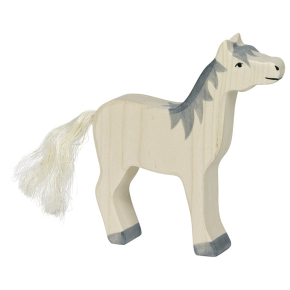 Holztiger Horse head raised grey mane