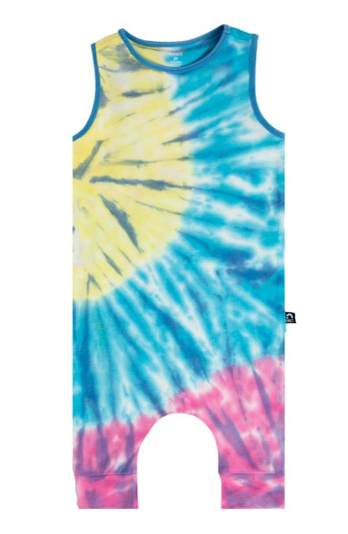 Rags ***BOUTIQUE EXCLUSIVE*** Tank Capri Rag Romper 'Spiral Tie Dye' in Yellow, Blue, Pink