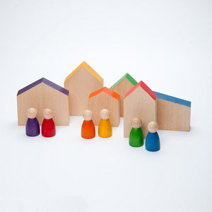 Grapat 12 Wooden Houses and Nins Peg People