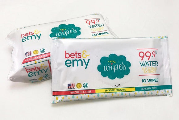 Bets & Emy Baby Wipes Travel Size 10 count