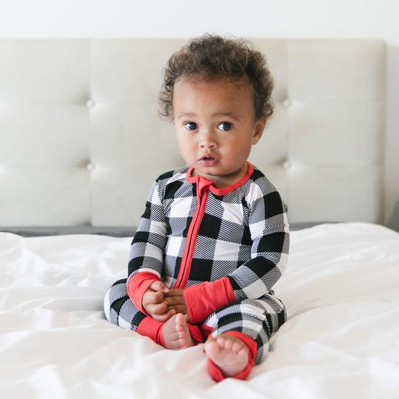 Little Sleepies Buffalo Plaid Convertible Bamboo Zip Romper/Sleeper