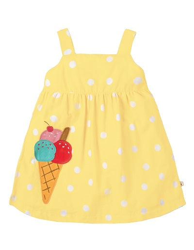 Frugi - Jess Party Dress Sunshine Polka Dot/Ice Cream (SS19)