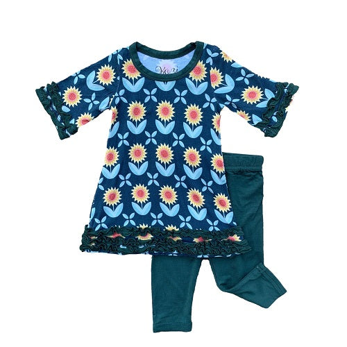 Kozi & Co Tunic Dress with Leggings Set Sunflowers (FW 2019)